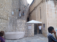 Entrance to Dubrovnik City walls next to Holy Savior church