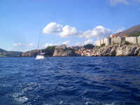 Sea side view of Dubrovnik and Lovrijenac fortress