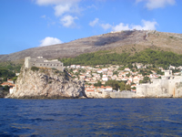 View of Fortress Lovrijenac and Dubrovnik City walls with Srdj hill in background