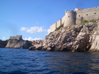 View of Dubrovnik City walls and Lovrijenac fortress from sea side