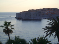 Dubrovnik in sunset - St John fortress visible in foreground