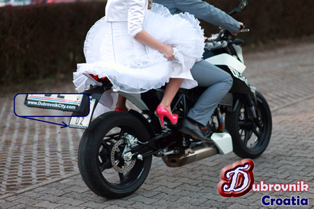 Dubrovnik Wedding - Unique Wedding - Bride and groom riding a KTM Duke 690