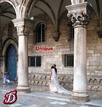 Bride and Groom in front of the Rector's Palace in Dubrovnik